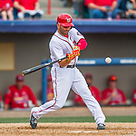13 March 2016: Washington Nationals infielder Danny Espinosa in action during a pre-season Spring Training game against the St. Louis Cardinals at Space Coast Stadium in Viera, Florida. The teams played to a 4-4 draw in Grapefruit League play. Mandatory Credit: Ed Wolfstein Photo *** RAW (NEF) Image File Available ***