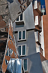 A close up of the colorful and unique buildings by architect Frank Gehry at MIT, Massachusetts Institute of Technology, in Boston
