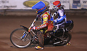 Heat 2: Adam Sheppard (blue) and Jack Kingston (red) - Lakeside Young Hammers vs Kings Lynn Lightning, Anglian Junior League Speedway at the Arena Essex Raceway, Pufleet - 22/06/12 - MANDATORY CREDIT: Rob Newell/TGSPHOTO - Self billing applies where appropriate - 0845 094 6026 - contact@tgsphoto.co.uk - NO UNPAID USE..