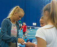 CAROLINE WOZNIACKI (DEN) practicing on her day off at the Hopman Cup. With her father and coach, Piotr Wozniacki and fitness coach ..03/01/2012, 3rd January 2012, 03.01.2012..The HOPMAN CUP, Burswood Dome, Perth, Western Australia, Australia.@AMN IMAGES, Frey, Advantage Media Network, 30, Cleveland Street, London, W1T 4JD .Tel - +44 208 947 0100..email - mfrey@advantagemedianet.com..www.amnimages.photoshelter.com.