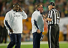 Jan. 7, 2013; Head coach Brian Kelly argues a call with the line judge against the Alabama during the first half of the 2013 BCS Championship in Miami, Florida. Alabama defeated Notre Dame 42 to 14. Photo by Barbara Johnston/University of Notre Dame