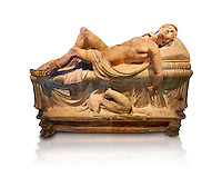 High picture of the Etruscan funerary monument  known as  Adonis Dying, late 3rd century BC, made of terracotta and discovered near Tuscania, inv 14147, The Vatican Museums, Rome. White Background. For use in non editorial advertising apply to the Vatican Museums for a license.
