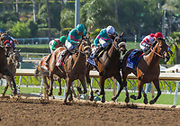 ARCADIA, CA APRIL 8:  #8 Gormley ridden by Victor Espinoza, #3 Battle of Midway ridden by Corey Nakatani, and #13 Royal Mo ridden by Gary Stevens battle in the stretch of the Santa Anita Derby (Grade l) on April 8, 2017 at Santa Anita Park in Arcadia, CA.(Photo by Casey Phillips/Eclipse Sportswire/Getty Images)