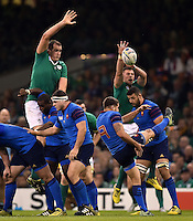 Sebastien Tillous-Borde of France box-kicks the ball. Rugby World Cup Pool D match between France and Ireland on October 11, 2015 at the Millennium Stadium in Cardiff, Wales. Photo by: Patrick Khachfe / Onside Images