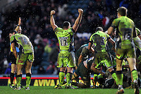 Eifion Lewis-Roberts of Sale Sharks raises his arms in celebration at the final whistle. Aviva Premiership match, between Leicester Tigers and Sale Sharks on February 6, 2016 at Welford Road in Leicester, England. Photo by: Patrick Khachfe / JMP