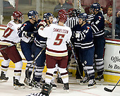 Jimmy Hayes (BC - 10), Sean Kliewer (Toronto - 4), Byron Elliott (Toronto - 17), Philip Samuelsson (BC - 5), Kyle Ventura (Toronto - 14), Tyler Turcotte (Toronto - 2) - The Boston College Eagles defeated the visiting University of Toronto Varsity Blues 8-0 in an exhibition game on Sunday afternoon, October 3, 2010, at Conte Forum in Chestnut Hill, MA.
