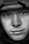 Lcpl. Nathan Baxter, 24, Bloomington, Indiana, Weapons Platoon, Kilo Co., 3rd Battalion 1st Marines, 1st Marine Division, United States Marine Corps at the company's firm base in Haditha, Iraq on Oct. 22, 2005.