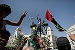 Remi OCHLIK/IP3 PRESS - On august, 26, 2011 In Tripoli - After friday prayer people leave Algeria square mosq celebrating the Tripoli s fall