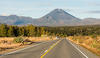 Mount Ngaruhoe seen from scenic road, Tongariro National Park, Central Plateau, North Island, UNESCO World Heritage Area, New Zealand, NZ