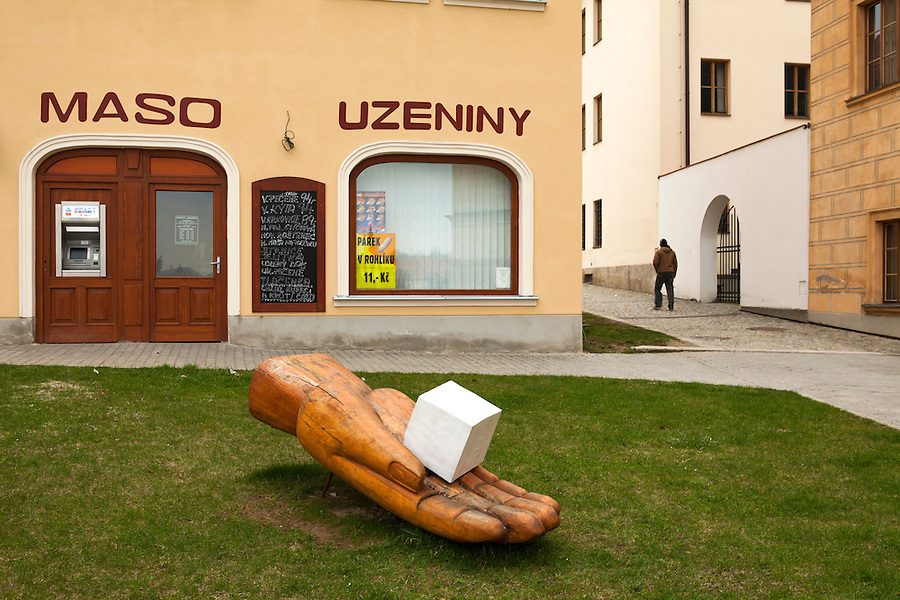 Sculpture commemorating the town of Dačice where the sugarcube was invented, Czech Republic, Europe