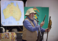 NWA Democrat-Gazette/BEN GOFF @NWABENGOFF<br /> Martin Beggs of Sydney, Australia talks about the Australian 'swagman' and the popular bush ballad 'Waltzing Matilda' Monday, Feb. 13, 2017, during a presentation at R.E. Baker Elementary in Bentonville. Beggs and wife Nellie Beggs have been presenting their 'Australian Kaleidoscope' program at schools in the United States for over ten years for the Kansas City, Mo. company 'The Cultural Kaleidoscope'. Students joined in songs and Aboriginal dances as they learned about the natural and cultural history of 'The Land Down Under' in assemblies and classes throughout the day.