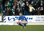 St Johnstone v Celtic.....14.02.15<br /> Brian Easton reacts at full time<br /> Picture by Graeme Hart.<br /> Copyright Perthshire Picture Agency<br /> Tel: 01738 623350  Mobile: 07990 594431