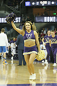 March 9, 2013:  Washington cheerleader Kayla Woods pumped up the crowed during a timeout against UCLA.  UCLA defeated Washington 61-54 at Alaska Airlines Arena Seattle, Washington....