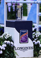 OMAHA, NEBRASKA - APR 2: The Longines FEI World Cup Jumping Final trophy at the CenturyLink Center on April 2, 2017 in Omaha, Nebraska. (Photo by Taylor Pence/Eclipse Sportswire/Getty Images)