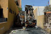 Zawiya, Libya, April 3, 2011..The main police station has been torched during the upraisal, its vast records archive destroyed...