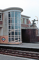 London: East Finchley Station, London Underground. 1930's Moderne by Charles Holden.  The Archer Statue is by Eric Aumonier.