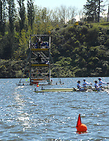 Hamilton, New Zealand, 2010  World Rowing Championships, Lake Karapiro Monday  01/11/2010  W4X Heat 1, GBR W4X , Debbie FLOOD, Beth RODFORD, Frances Houghton, Annabel VERNON, advance ahead of GER,  as they approach the Finish Line, and win Heat 1, [Mandatory Credit Karon Phillips/Intersport Images]