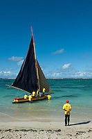 Mauritius. Preparing for a Sunday pirogue regatta.