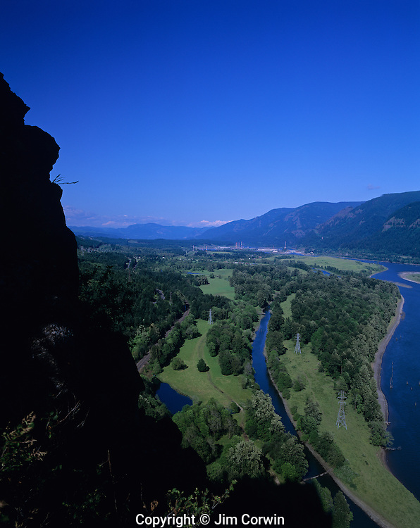 Columbia River Gorge National Scenic Area looking toward Bonneville Dam from Beacon Rock State Park Washington State USA