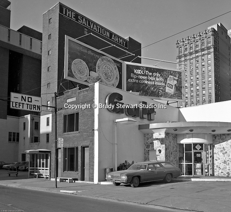 Pittsburgh PA:  View of the unique Gulf Service station at the corner of Grant Street and the Boulevard of the Allies in Pittsburgh - 1968.  This photographic assignment was for a local Real Estate Agent trying to sell the property.