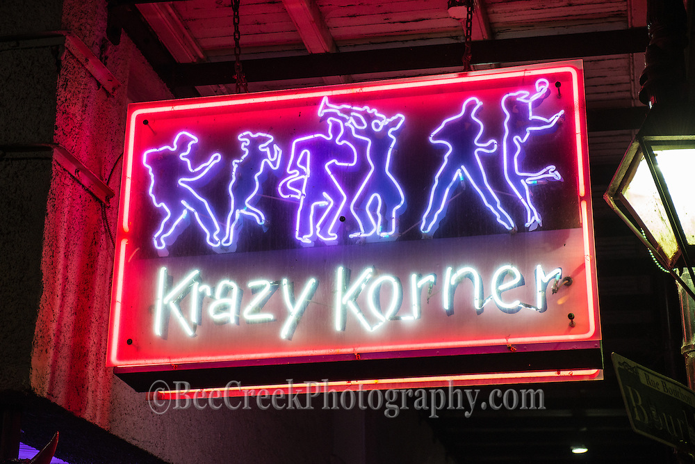Krazy Korner's neon sign in the French quarter in New Orleans.