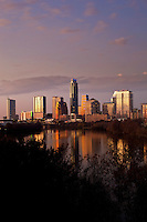 Beautiful Austin skyline reflection at sunset vertical view
