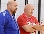 LONDON, ENGLAND – 08/26/2012:  Tony Walby and coach Tom Thomson of the Canadian Judo Team during a training session at the London 2012 Paralympic Games at Mayesbrook Park SportHouse. (Photo by Matthew Murnaghan/Canadian Paralympic Committee)
