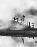 A person watches as steam rises from a hot pool in Yellowstone National Park.