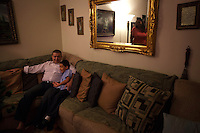 Saeid Haghighi spends time with his son Jesus Haghighi, 7, before school in their apartment in Fordham Heights, The Bronx, NY on September 11, 2013.