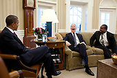 United States President Barack Obama meets with Pastor Joel Hunter, center, and Josh DuBois, Director of the White House Office for Faith-Based and Neighborhood Partnerships, in the Oval Office, February 1, 2012. .Mandatory Credit: Pete Souza - White House via CNP