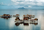 PHILIPPINES-10006NF, Houses built on stilts Tawi-Tawi, Philippines, 1986<br />