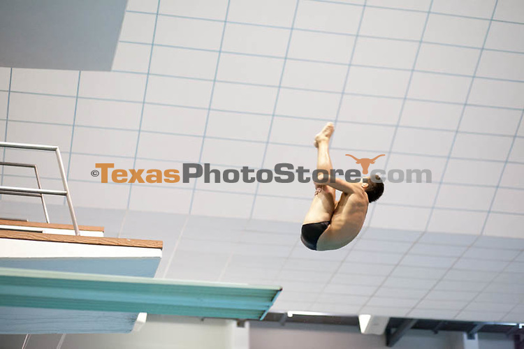 Sean O'Brien competes on the 3-meter dive...UT Men's Swimming Orange v White Meet