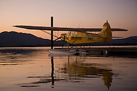 Piper Cub on Floats docked at the Seaplane Splash-In, Lakeport, California, Lake County, California