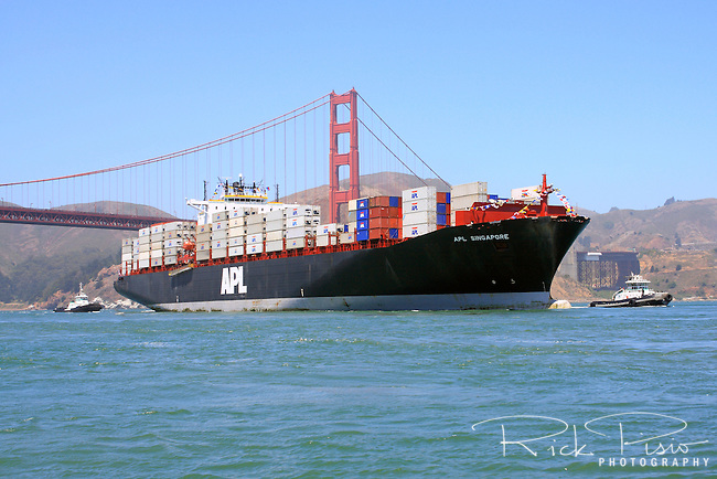 American president lines container ship singapore enters san francisco