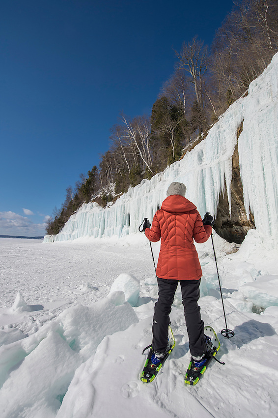 Exploring the Lake Superior ice caves of Grand Island near Munising on Michigan's Upper Peninsula.