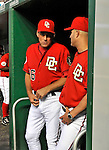 21 June 2008: Washington Nationals' Pitching Coach Randy St. Claire (left) talks with Manager Manny Acta during a game against the Texas Rangers at Nationals Park in Washington, DC. The Rangers defeated the Nationals 13-3 in the second game of their 3-game inter-league series...Mandatory Photo Credit: Ed Wolfstein Photo