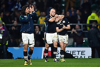 Gordon Reid of Scotland commiserates team-mate Mark Bennett after the match. Rugby World Cup Quarter Final between Australia and Scotland on October 18, 2015 at Twickenham Stadium in London, England. Photo by: Patrick Khachfe / Onside Images