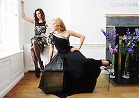 15/7/2010. COAST AUTUMN WINTER 2010 PREVIEW. Karen wears a black and gold Chloe Jaquard dress EUR175 and Sarah wears a Delilah maxi dress EUR350 at the preview of the Coast Autumn Winter 2010 collection at 15 St Stephens Green Dublin. Picture James Horan/Collins Photos