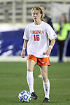 08 November 2013: Virginia's Emily Sonnett. The University of Virginia Cavaliers played the Virginia Tech Hokies at WakeMed Stadium in Cary, North Carolina in a 2013 NCAA Division I Women's Soccer match and the semifinals of the Atlantic Coast Conference tournament. Virginia Tech won the game 4-2.