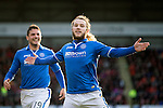 St Johnstone v Dundee United.....29.12.13   SPFL<br /> Stevie May celebrates his first goal<br /> Picture by Graeme Hart.<br /> Copyright Perthshire Picture Agency<br /> Tel: 01738 623350  Mobile: 07990 594431