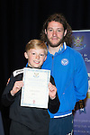 St Johnstone FC Youth Academy Presentation Night at Perth Concert Hall..21.04.14<br /> Stevie May presents to Luke Graham<br /> Picture by Graeme Hart.<br /> Copyright Perthshire Picture Agency<br /> Tel: 01738 623350  Mobile: 07990 594431