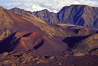 Looking inside the vast desert-like crater at Haleakala National Park on Maui.