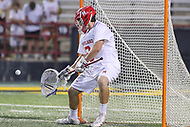 College Park, MD - April 29, 2017: Maryland Terrapins Dan Morris (8) makes a save during game between John Hopkins and Maryland at  Capital One Field at Maryland Stadium in College Park, MD.  (Photo by Elliott Brown/Media Images International)