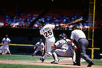 SAN FRANCISCO, CA - Barry Bonds of the San Francisco Giants bats during a game against the Houston Astros in 1995 at Candlestick Park in San Francisco, California. (Photo by Brad Mangin)