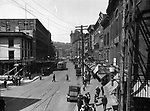 Overhead view of Bank and Grand Streets, looking north toward the Green, in Waterbury circa 1922.