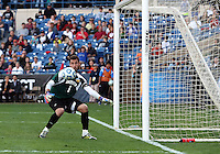 HOOVER, AL - DECEMBER 09, 2012: Luis Soffner (1) of Indiana University watches a shot off the cross bar in the last minute of play against  Georgetown University during the NCAA 2012 Men's College Cup championship, at Regions Park, in Hoover , AL, on Sunday, December 09, 2012.