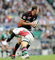 Twickenham, GREAT BRITAIN,  Saracens, Chris JACK, looks for support while  tackled, low by Quins, Tani FUGA, during the Guinness Premiership match,  Saracens vs Harlequins, at Twickenham Stadium, Surrey on Sat 06.09.2008. [Photo, Peter Spurrier/Intersport-images]