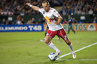 Joel Lindpere kicks the ball. The New York Red Bulls defeated the San Jose Earthquakes 1-0 at Buck Shaw Stadium in Santa Clara, California on October 30th, 2010.
