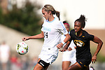 15 August 2014: North Carolina's Taylor Ramirez (14) and Missouri's Candace Johnson (right). The University of North Carolina Tar Heels hosted the University of Missouri Tigers at Fetzer Field in Chapel Hill, NC in a 2014 NCAA Division I Women's Soccer preseason match. Missouri won the exhibition 2-1.
