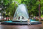 Mexico, Mexico City, Coyoacan Neighborhood, Place of Coyotes, Historic Center, The Plaza del Centenario, Jardin del Centenario, Coyote Bronze Water Fountain Sculpture